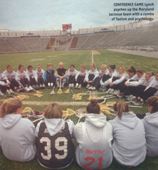 ''Jerry has been with us for the past 10 years, helping the entire team to seven consecutive national championships in Lacrosse.  Here we are during a team meeting on the field.'' - Cindy Timchal, Head Coach, University of Maryland